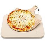 Hans Grill Pizzastein Pizza Ofenstein mit Holz Pizza Peel Brett | Langlebig, dick & echt Holz,...