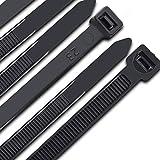 Kabelbinder 300 mm x 7,6 mm, UV-Beständig ultra starke Kabelbinder mit 70 kg Zugfestigkeit, Schwarz...