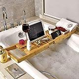 QTIAN Holzbadewanne Caddie Tablett, dehnbares rutschfeste Badewanne Regal, mit freiem Seifenhalter,...