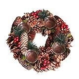FATTERYU Weihnachtskranz, künstliche Weihnachtsblume, Tannenzapfen, Teelichthalter aus Holz, 4...