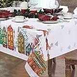 Alishomtll Weihnachten Tischdecke Abwaschbar Tischtuch Garten 140x140cm Wasserabweisend Fleckschutz...