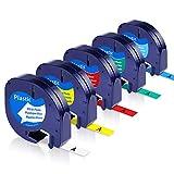Unistar Kompatibel Etikettenband als Ersatz für Dymo Letratag Plastic Etikettenbänder 12mm x 4m...