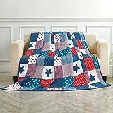 Asvert Quit Tagesdecke 100% Baumwolle Bettüberwurf Steppdecke Patchwork Bettdecke (150 * 200, Blau)