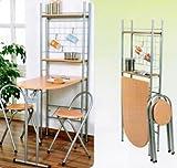 Küchentisch mit Regal und 2 Stühlen, klappbar, Holz
