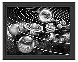 Sonnensystem mit unseren Planeten im Schattenfugen Bilderrahmen | Format: 38x30 | Kunstdruck auf...