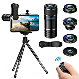 Handy Objektiv Kamera Linse Kit- 5 in 1 Universal Phone Objektiv, 12x Teleobjektiv+0,65x Weitwinkel...