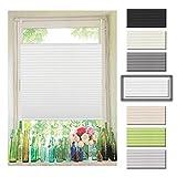 Atlaz Easyfix Plisseerollo Faltrollo ohne Bohren Klemmfix für Fenster 35x130cm (BxH) Weiß Plissee...