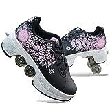 PLMOKN Rollschuhe Mädchen Quad Roller Skates Damen Skate Roller ,2-in-1- Skate Schuhe Sportschuhe...