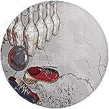 W-WEE Runder Teppich Matte Teppich, Bowling Party Dekorationen, Bowling Schuhe Pins und Ball...