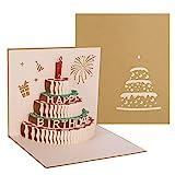 hellomagic 3D Pop Up Grußkarten Geburtstag, Pop-Up gefaltete Karte mit 3 Schichten Kuchen,...