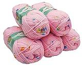 Alize Baby Flower 5 x 100 Gramm Wolle mit Farbtupfer, 500 Gramm Effektwolle, Strickwolle (rosa 5381)