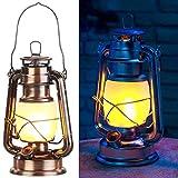 Lunartec Petroleumlampe: LED-Sturmlaterne mit Flammen-Effekt, 25 cm Höhe, bronzefarben (LED...