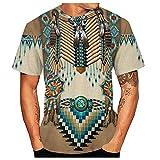 Herren 3D Vintage Ethnic Style Print Rundausschnitt Kurzarm T-Shirts Boho Lässig Casual Tops...