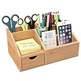 HOMFA Bambus Schreibtisch Organizer Aufbewahrungsbox Organisation Stiftebox Stifteköcher...