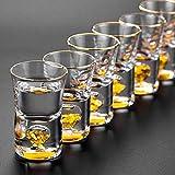 SMNHSRXH Whisky gläser Bestnote Manuelle Kristallschnapsglas Built In Pure Gold Goldleaf...