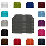 4 tlg. Handtuch-Set in vielen Farben - 4 Handtcher 50x100 cm - Farbe anthrazit