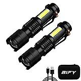 BIFY Tactical Taschenlampen Wiederaufladbar Zoomable Wasserdichte COB Seitenlicht Mini LED...