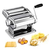 Nudelmaschine Pasta Maker Edelstahl Frische Manuell Pasta Walze Maschine Cutter mit Klemme fr...