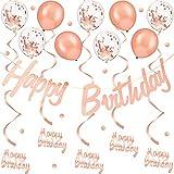 Rose Gold Happy Birthday Dekoration, Buchstabe Geburtstag Banner, 4 Stücke Rose Gold Hängenden...