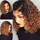 Wigs For Women Ombre Color Short Curly Lace Front Human Hair Wigs With Baby Hair Pre Plucked Remy...
