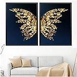 Refosian Abstract Butterfly Picture Leinwand Malerei Wandkunst Goldene Drucke und Poster für...