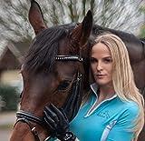 Panama Reitsport Estrellas Atmungsaktives Reitpolo, Turniershirt in Cyan Blau für Damen XS-XL (M)