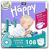 bella baby Happy Windeln Größe 6 Junior Extra 16+ kg, 1er Pack (1 x 108 Stück) mit maximalem...