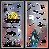 LessMo Halloween Fenster Sticker, 4 Stück Halloween Fenster Aufkleber, Schloss Skelett Hexe Geist...
