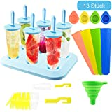 FHzytg 6 Stück Eisformen EIS am Stiel Silikon, EIS am Stiel Formen Set mit Reinigungsbürste und...