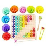 LINPING Holz Go Spiele Set Dots Perlen Brettspiele Spielzeug Regenbogen Clip Perlen Puzzle
