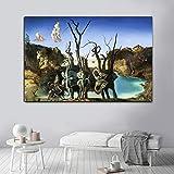 yhyxll Swans Reflecting Salvador_Dali Kunst Leinwand Malerei Abstrakte Poster und Drucke Wandbilder...