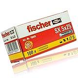 4er Set Fischer Dübel SX 5x25 mm Packung á 100 Stück - Nylon Spreizdübel mit 4-Fach-Spreizung...