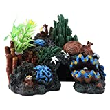 Pssopp Aquarium Dekoration Aquarium Ornament mit Höhle Bunte Kunstharz Korallenriff Höhle View...