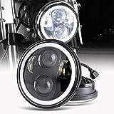 5.75 Zoll LED Motorrad Scheinwerfer Frontscheinwerfer Angel Eye weißer für...
