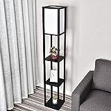 YU YUSING Stehlampe mit Holzregal Innenbeleuchtung 1,6m Holz Stehleuchte mit Regalen für...