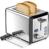 LOFTER 2 Scheiben Toaster Edelstahl Spiegel mit LED Countdown Anzeige 800W Toaster, Breit Schlitz, 6...