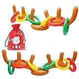 Weihnachtsspiel Rentier (2 Geweihe, 12 Ringe) - Aufblasbares Rentier Geweih zum Aufsetzen...