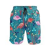 Bonipe Herren Badehose Tropical Flamingo Herz Muster schnell trocknend Boardshorts mit Kordelzug und...