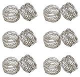 SKAVIJ Silber Metallmaschen Serviettenringe Set Weihnachten Dekoration für Esstisch (12 stück)