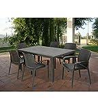 Ipae-Progarden teveve Garten-Tisch Fixed Geflochtene Stil Rattan anthrazit pri16150x 72x...