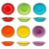 DRULINE Teller-Set bunt   Edles Porzellan-Geschirr   + Suppenteller 750 ml +   6 Farben   mediterran...