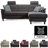 Cavadore Ecksofa Palera mit Federkern / L-Form Sofa mit Longchair rechts / 244 x 89 x 164 / Stoff...