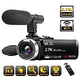 Videokamera 2.7K Full HD Camcorder mit Mikrofon 30FPS WiFi IR Nachtsicht Vlogging Kamera 24MP 16X...