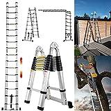 5M Teleskopleiter ausziehbare Leiter Aluleiter Ausziehleiter Anlegeleiter 16 Sprossen...