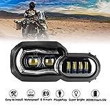 LED Scheinwerfer für Motorrad mit Angel Eyes DRL Montage, E-Mark E-Prüfzeichen, wasserdicht...