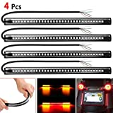 Globents 4 Pack 48 LED Motorrad Heckklappe Blinker Licht 8'Bernstein/Rot Flexible Universal LED...