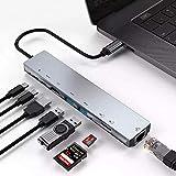 8 in 1 Typ C auf RJ45 Ethernet Adapter Hub mit HDMI, TF/SD Kartenleser, USB-C, PD Laden, 2 USB 3.0...
