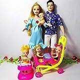 XKMY Barbie Puppe Mädchen Spielzeug Familie 6 Personen Puppen Anzüge 1 Mama / 1 Papa / 3 Little...