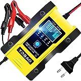 YDBAO Autobatterie Ladegerät 6A 12V/24V Vollautomatisches Batterie Ladegerät mit LCD-Bildschirm...