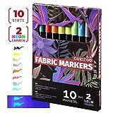 Colozoo Stoffmalstifte 10er-Set: 2 UV Neon und 8 Textilstifte waschmaschinenfest - perfekt für...